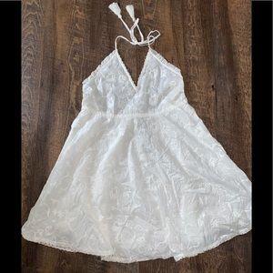 Zara white embroidery halter neck dress